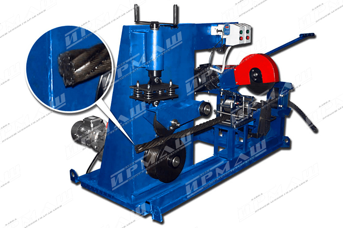 Установка для перемотки и мерной резки стальных канатов УРКС-65